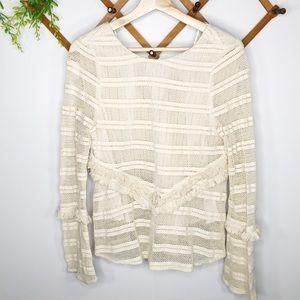Zara tan knit boho blouse